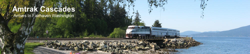 Amtrak Cascades Passenger Train Rounds The Corner Of Bellingham Bay Before Pulling Into The Fairhaven Station Adjacent To The Bellingham Cruise Terminal